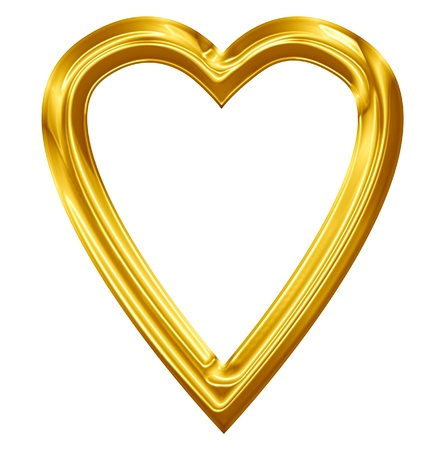 Golden heart with smooth lines and some faint reflections Stock Photo - 14670017