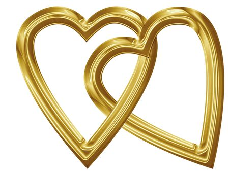 Golden heart with smooth lines and some faint reflections Stock Photo - 14670040