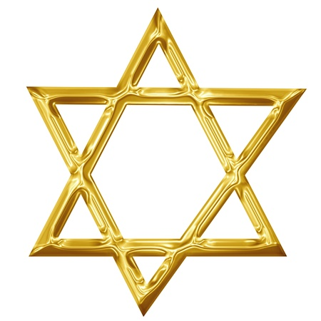 Golden star of david on a solid white background photo