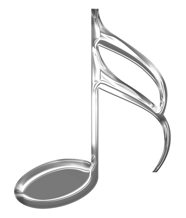 Metallic music note on a solid white background Stock Photo - 14669888
