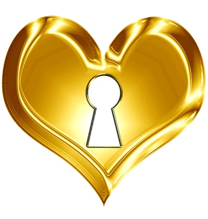 key hole: Golden heart isolated on a solid white background Stock Photo