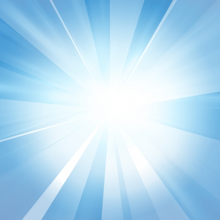 light beams: Intense sun on a soft blue background