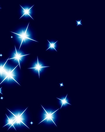 glimmer: Bright sparkling background with several glowing and twinkling stars Stock Photo