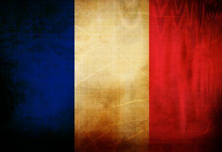 bandera francia: Pabell�n franc�s ondeando en el viento Foto de archivo
