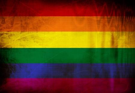 bandera gay: Bandera del orgullo gay ondeando en el viento Foto de archivo