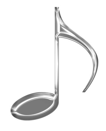 Metallic music note on a solid white background Stock Photo - 14776315