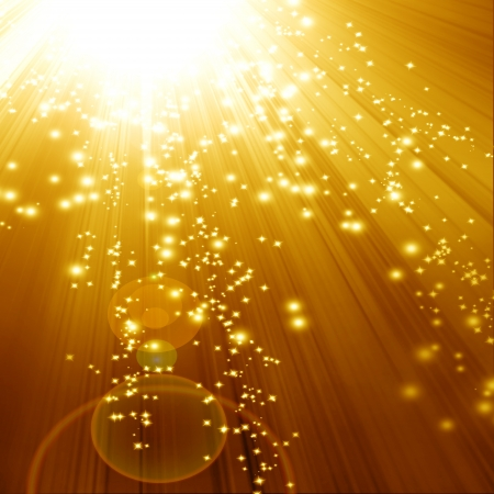 beam of light: Golden sparkling background with intense glowing sparkles and glitter