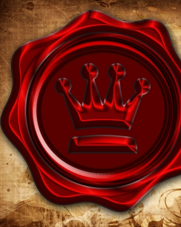 Paper texture with an added red wax seal with royal emblem photo