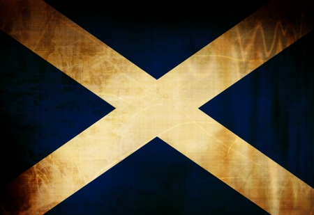 Scottish flag waving in the wind photo