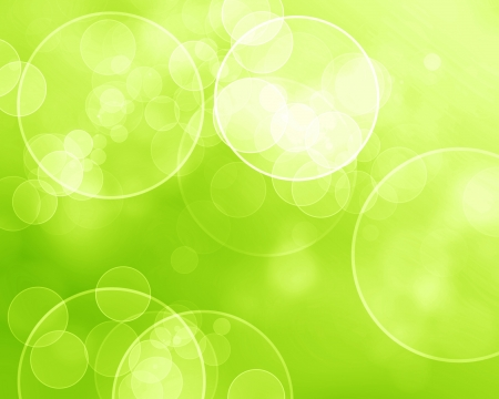 bokeh: Green and fresh background with soft bokeh effects and white overlapping circles Stock Photo