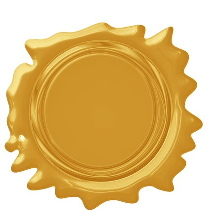 signatory: Golden seal with highlights on a solide white background Stock Photo