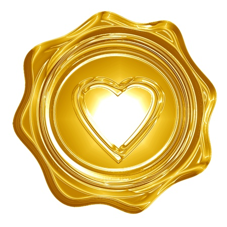 Golden heart with smooth lines and some faint reflections Stock Photo - 14776390