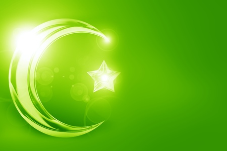 The symbol of Islam with a crescent and star photo