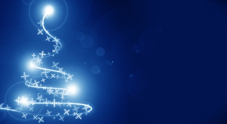 Abstract christmas tree on a blue background photo