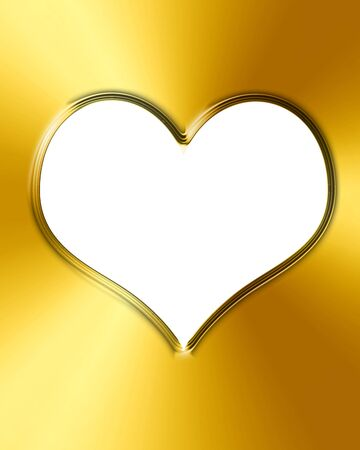 Golden heart with smooth lines and some faint reflections Stock Photo - 14840207