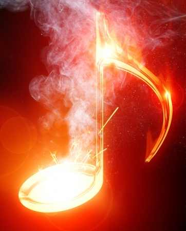 Colorful musical note on a soft dark background Stock Photo - 14840534