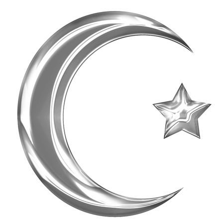 isolation backdrop: Islam sign with a crescent and a smaller star