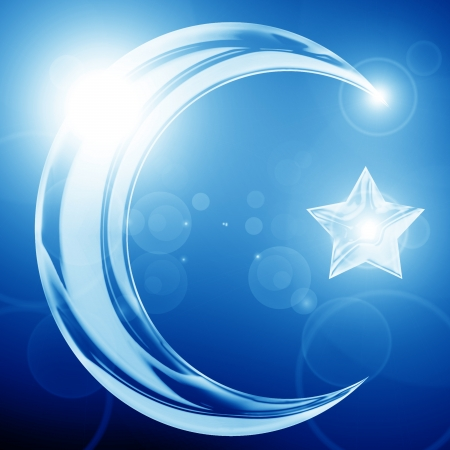 crescent: The symbol of Islam with a crescent and star Stock Photo