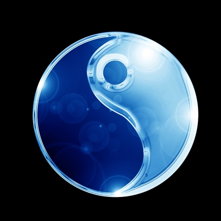 tao: Yin Yang sign on a glowing background Stock Photo
