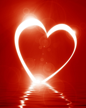 Reflected heart with some soft glowing highlights Stock Photo