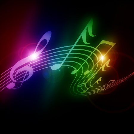Colorful musical notes on a soft dark background Stok Fotoğraf