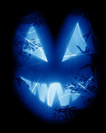 Halloween background with an intense blue glow photo