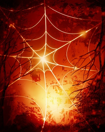 Halloween background with an intense orange glow photo