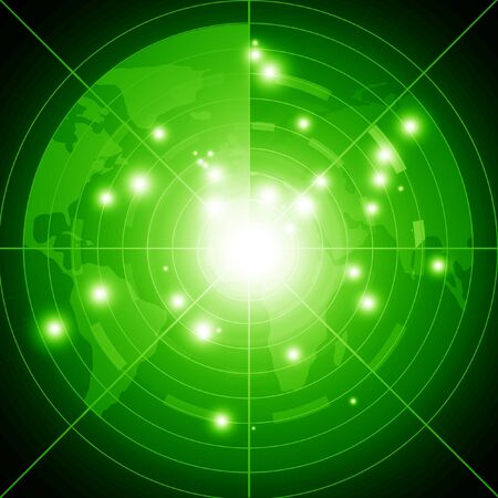 Green radar screen performing a scan of the region Stock Photo - 14840295