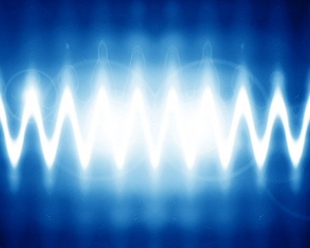 sound wave on a bright blue background Stock Photo - 14840469