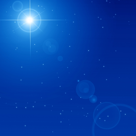 Peaceful blue sky filled with sparkling stars photo
