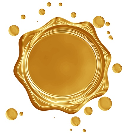 Золотая печать с бликами на Solide белом фоне