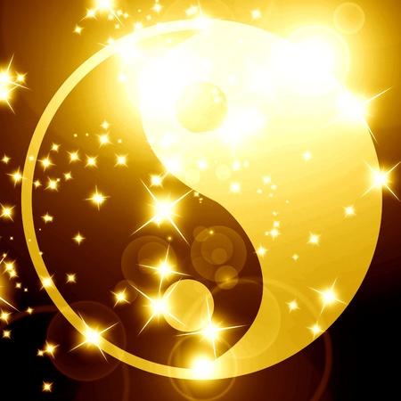 paz interior: Yin Yang firmar sobre un fondo brillante con algunos rayos de luz
