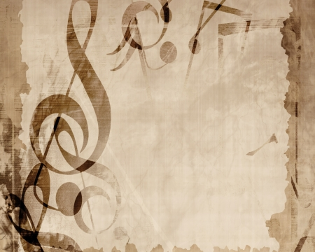 Vintage paper texture with added music notes photo