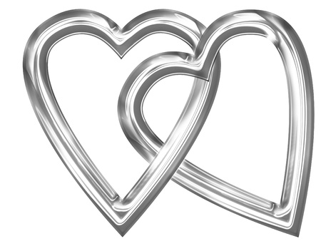 Metallic heart with some soft reflections and highlights photo