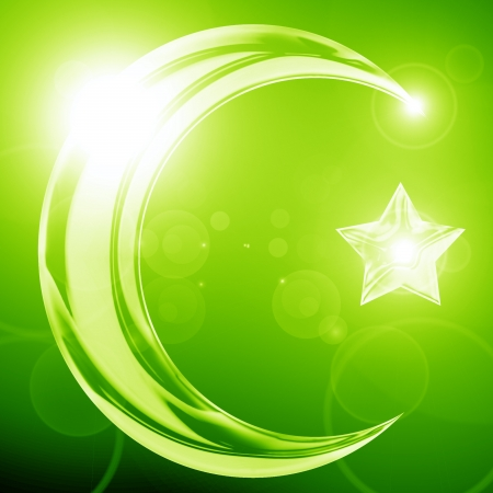The symbol of Islam with a crescent and star Stock Photo