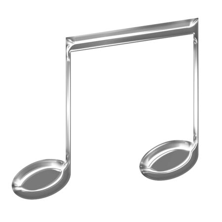 Metallic music note on a solid white background Stock Photo - 14948736