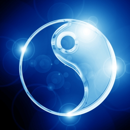 Yin Yang sign on a glowing background Stock Photo - 14949267