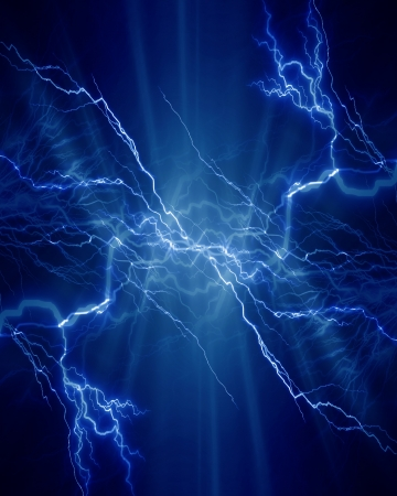 Intense electrical discharge on a dark background photo