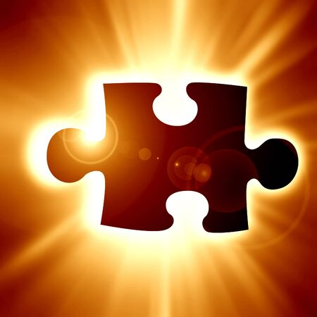 struggle: Glowing puzzle piece with some soft highlights Stock Photo