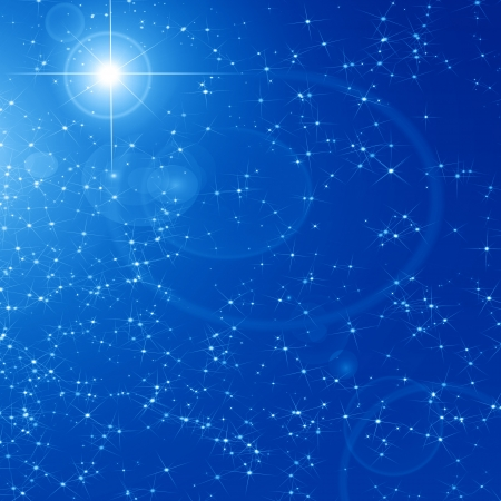 star of bethlehem: Peaceful blue sky filled with sparkling stars Stock Photo