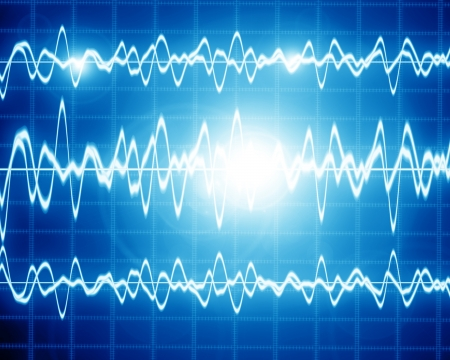 vibrations: sound wave on a bright blue background Stock Photo