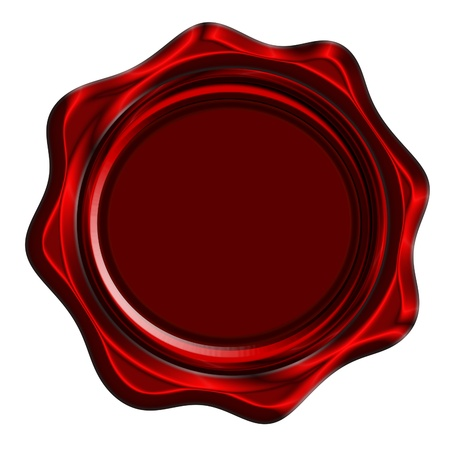 Red wax seal isolated on a solid white background photo