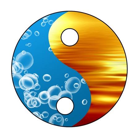 paz interior: Yin Yang firmar sobre un fondo brillante Foto de archivo