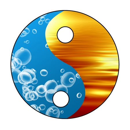 yin yang: Yin Yang sign on a glowing background Stock Photo
