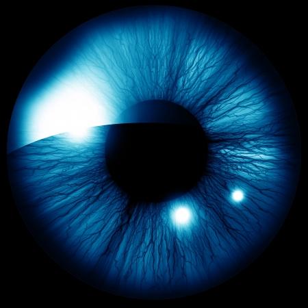 close up eye: Iride umana con alcuni riflessi e riflessioni Archivio Fotografico