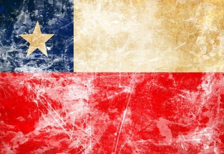 bandera chilena: Bandera chilena con un aspecto vintage y antiguos