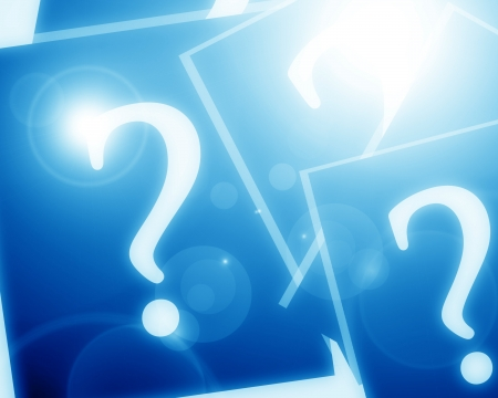 unsolvable: Question mark with some highlights and glowing edges Stock Photo