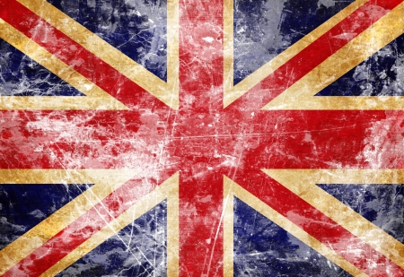 UK flag with a vintage and old look