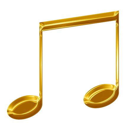 Golden music note on a solid white background Stock Photo - 15009185