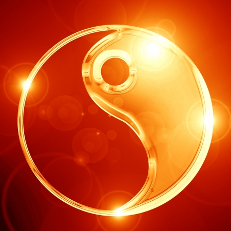 Yin Yang sign on a glowing background Stok Fotoğraf - 15009313